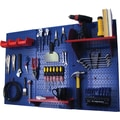 Wall Control 4' Metal Pegboard Standard Workbench Kit, Blue Tool Board and Red Accessories