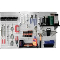 Wall Control 4' Metal Pegboard Standard Workbench Kit, Gray Tool Board and Black Accessories