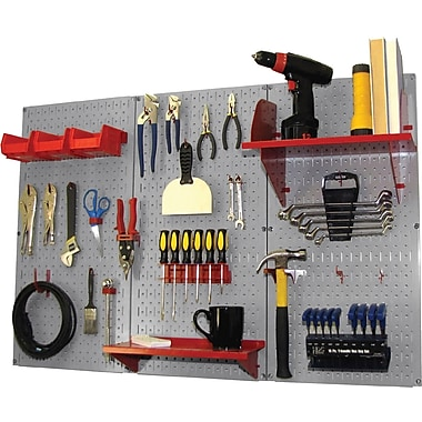 Wall Control 4' Metal Pegboard Standard Workbench Kit, Gray Tool Board and Red Accessories