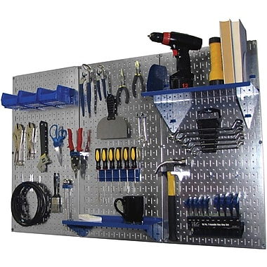 Wall Control 4' Metal Pegboard Standard Workbench Kit, Galvanized Tool Board and Blue Accessories