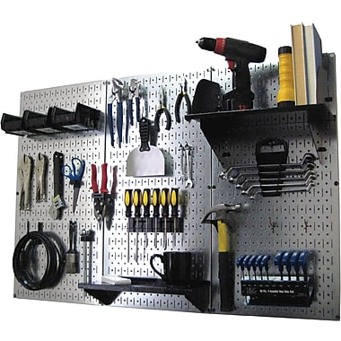 Wall Control 4' Metal Pegboard Standard Workbench Galvanized Tool Board and Accessories Kit