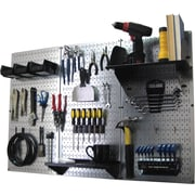 Wall Control 4' Metal Pegboard Standard Workbench Kit, Galvanized Tool Board and Black Accessories