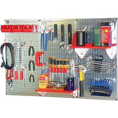 Wall Control 4' Metal Pegboard Standard Workbench Kit, Galvanized Tool Board and Red Accessories