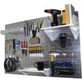Wall Control 4' Metal Pegboard Standard Workbench Kit, Galvanized Tool Board and White Accessories