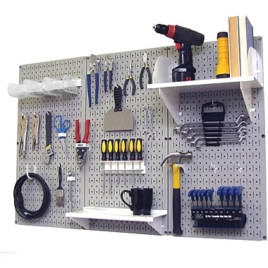 Wall Control 4' Metal Pegboard Standard Workbench Kit, Gray Tool Board and White Accessories