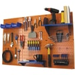 Wall Control 4' Metal Pegboard Standard Workbench Kit, Orange Tool Board and Blue Accessories
