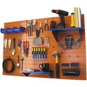 Wall Control 4' Metal Pegboard Standard Workbench Kit, Orange Tool Board and Blue Accessories