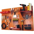 Wall Control 4' Metal Pegboard Standard Workbench Kit, Orange Tool Board and Red Accessories