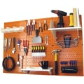 Wall Control 4' Metal Pegboard Standard Workbench Kit, Orange Tool Board and White Accessories