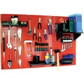 Wall Control 4' Metal Pegboard Standard Workbench Kit, Red Tool Board and Black Accessories