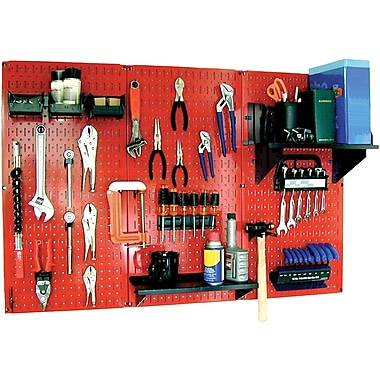 Wall Control 4' Metal Pegboard Standard Workbench Red Tool Board and Accessories Kit