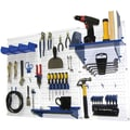 Wall Control 4' Metal Pegboard Standard Workbench Kit, White Tool Board and Blue Accessories