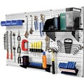 Wall Control 4' Metal Pegboard Standard Workbench Kit, White Tool Board and Black Accessories