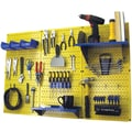Wall Control 4' Metal Pegboard Standard Workbench Kit, Yellow Tool Board and Blue Accessories