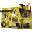 Wall Control 4' Metal Pegboard Standard Workbench Kit, Yellow Tool Board and Black Accessories