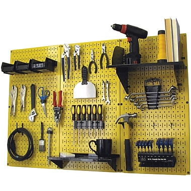 Wall Control 4' Metal Pegboard Standard Workbench Kit, Yellow Tool Board and Black Accessories