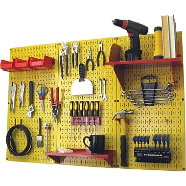 Wall Control 4' Metal Pegboard Standard Workbench Kit, Yellow Tool Board and Red Accessories