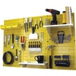 Wall Control 4' Metal Pegboard Standard Workbench Kit, Yellow Tool Board and White Accessories
