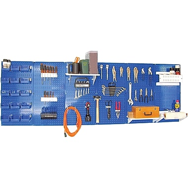 Wall Control 8' Metal Pegboard Master Workbench Kit, Blue Tool Board and White Accessories