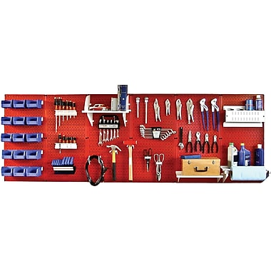 Wall Control 8' Metal Pegboard Master Workbench Kit, Red Tool Board and White Accessories