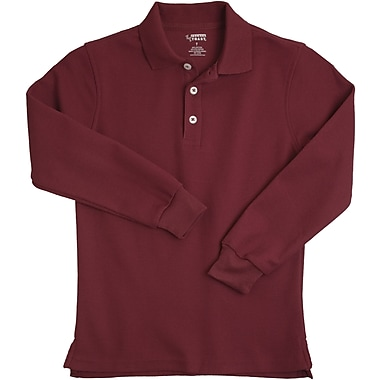 French Toast Unisex Long Sleeve Pique Polo, Burgundy Size 2T