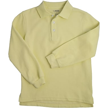French Toast Unisex Long Sleeve Pique Polo, Yellow Size 2T