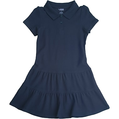 French Toast Girls Ruffled Pique Polo Dress, Navy, Size 14