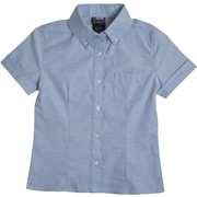 French Toast Girls Short Sleeve Oxford Blouse with Darts, Light Blue, Size 16