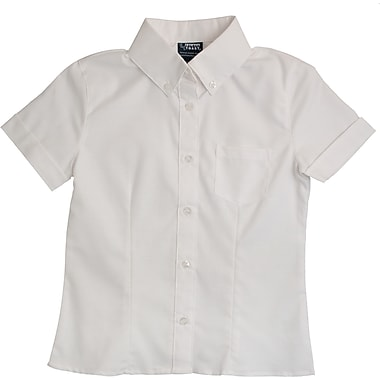 French Toast Girls Short Sleeve Oxford Blouse with Darts, White, Size 16 Plus