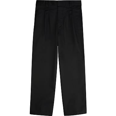 French Toast Boys Pleated Adjustable Waist Double-Knee Pants, Black