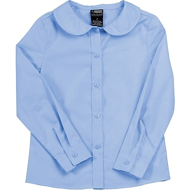 French Toast Girls Long Sleeve Peter Pan Blouse (Feminine Fit), Light Blue, Size 20