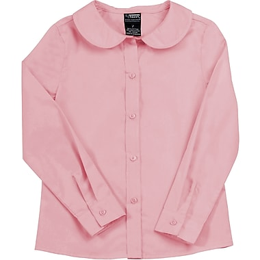 French Toast Girls Long Sleeve Peter Pan Blouse (Feminine Fit), Pink, Size 7