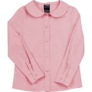 French Toast Girls Long Sleeve Peter Pan Blouse (Feminine Fit), Pink, Size 5
