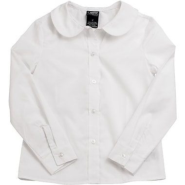 French Toast Girls Long Sleeve Peter Pan Blouse (Feminine Fit), White, Size 6X