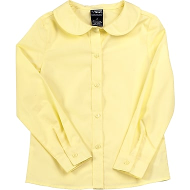 French Toast Girls Long Sleeve Peter Pan Blouse (Feminine Fit), Yellow, Size 14