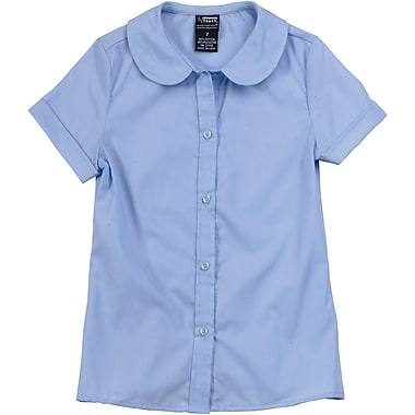 French Toast Girls Short Sleeve Peter Pan Blouse (Feminine Fit), Light Blue, Size 8