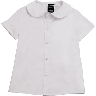 French Toast Girls Short Sleeve Peter Pan Blouse (Feminine Fit), White, Size 14