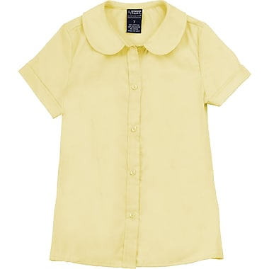 French Toast Girls Short Sleeve Peter Pan Blouse (Feminine Fit), Yellow, Size 7