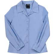 French Toast Girls Long Sleeve Pointy-Collar Blouse (Feminine Fit), Light Blue, Size 20