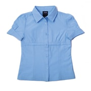 French Toast Girls Short Sleeve Gather Front Blouse, Light Blue, Size 12