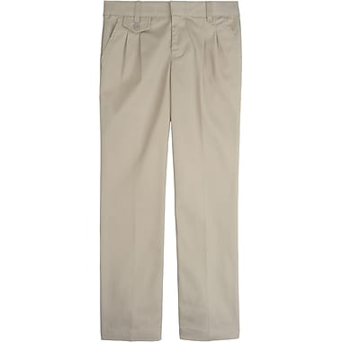 French Toast Girls Adjustable Waist Pleated Pant, Khaki, Size 20 Plus