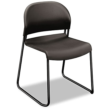 HON GuestStacker Polymer Stacking Chair With Black Finish Legs, Black