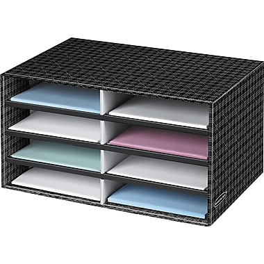Bankers Box® Decorative Letter-Size 8-Compartment Literature Sorter, Plaid (6221301)
