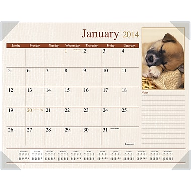 2014 AT-A-GLANCE® Puppies Desk Pad, 22in. x 17in.
