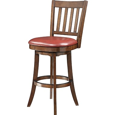 Inspired by Bassett Mission 30in. Seat Height Barstool, Crimson Red Eco Leather