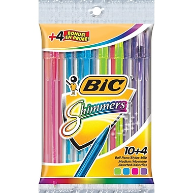 BIC® Shimmers Fashion Colour Stic Pens, 14/Pack