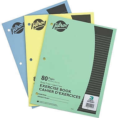 Hilroy Exercise Book, 7mm Ruled with 3 Hole Punch, 10-7/8