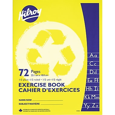 Hilroy - Cahier d'exercices, ordinaire 1/2, lignes 1/2, 9 1/8 po x 7 1/8 po, 72 pages