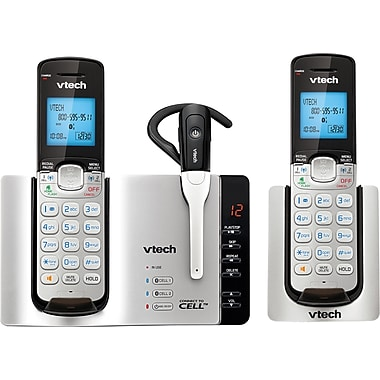Vtech DS6671-3 2 Handset Connect to Cell Telephone with Answering System/Caller ID/Call Waiting