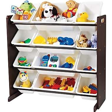 Tot Tutors Toy Organizer, Espresso with White Bins